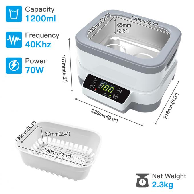 ABS Detachable Household Ultrasonic Cleaner Stainless SUS304 40KHz