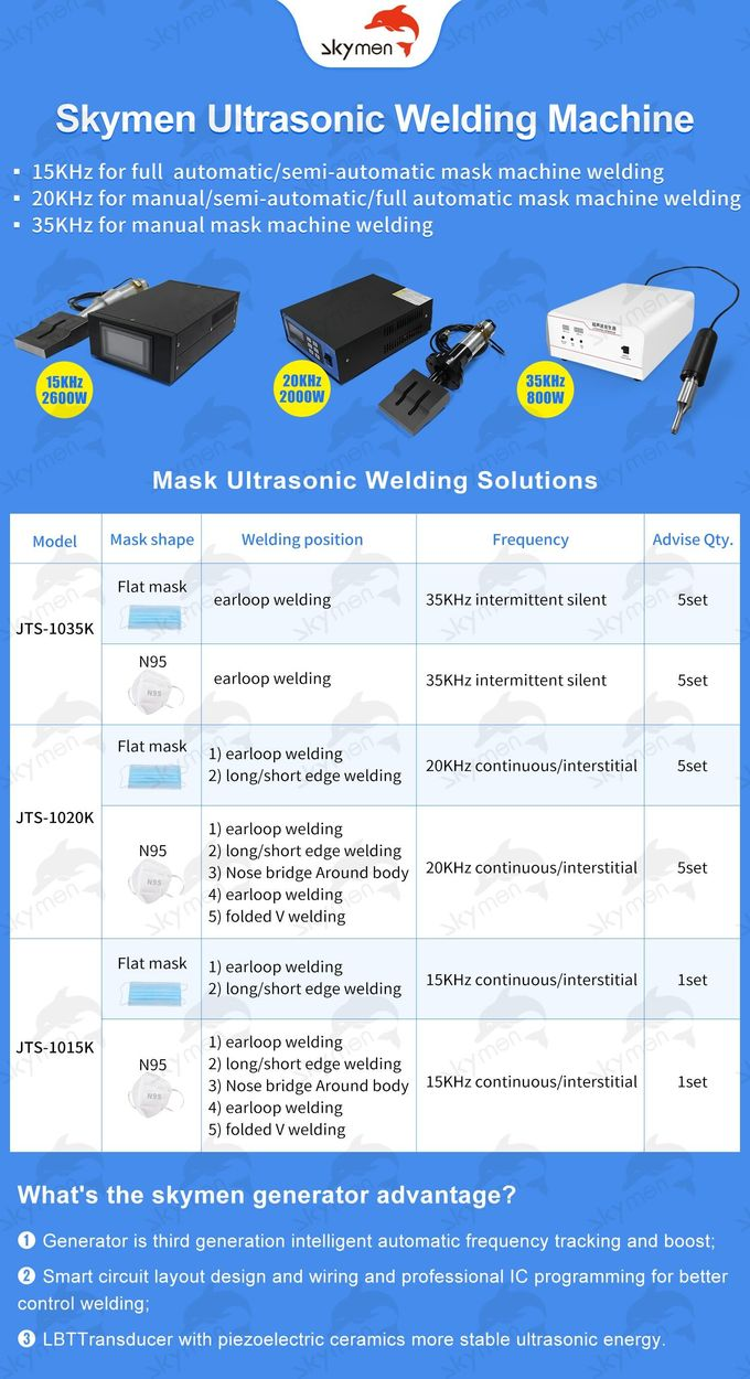 500W Ultrasonic Welding Generator Sealing Face Masks Ears Elastics With Transducer